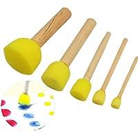 Bobury 5pcs Sponge Stamper pour enfants Eau Aquarelle Huile Gouache Pinceau Acrylique