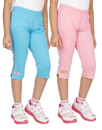 OCEAN RACE Girls Stylish attarctive Colors Cotton Capris(3/4 Th Pant)-Pack of 2-15159-14/15YRS
