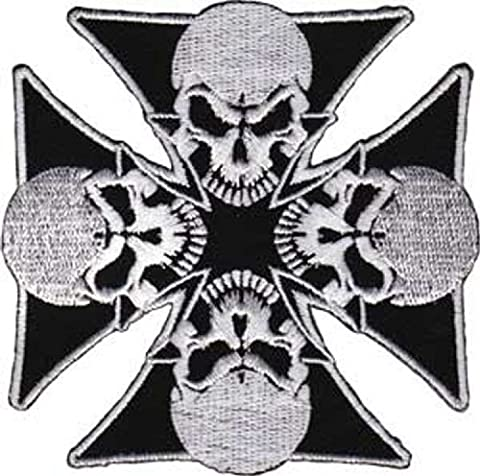 IRON CROSSES Application 4 Skull crânes Patch pièce Iron-On / Sew-On Officially Licensed Pop Culture / Iron Crosses Artwork Création, 3.3