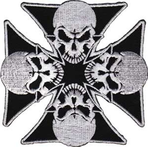 "IRON CROSSES Application applicazione 4 Skulls Skulls PATCH Iron-On / Sew-On Officially Licensed Pop Culture / Iron Crosses Artwork, 3.3"" x 3.3"" EMBROIDERED RICAMATO Patch"