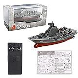 GailMontan Mini RC Boat 2.4 GHZ Fernbedienung RC Flugzeugträger Spielzeug Modell Kriegsschiffe - Silber, Grau
