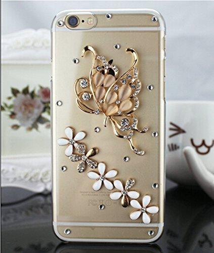 iPhone 55S se pc éclat brillant strass Coque, newstars stéréo papillon Couronne Bling Glitter cristal diamant Transparent Plaqué pare-chocs protection d'écran transparent coque arrière pour iPhone 5/ Diamond Butterfly