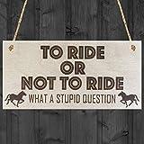 Monsety Rustikal Holz Schilder für Home Decor Aufhängen Vorlagen mit Zitate to Ride Oder Nicht to Ride Horse Neuheit Pferde Reiten Schild