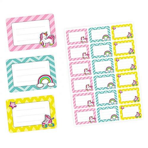 72 Blanko Etiketten Retro Einhorn Regenbogen und Rollschuh - 64 x 45 mm - Namensetiketten Mädchen Schule Aufkleber Sticker