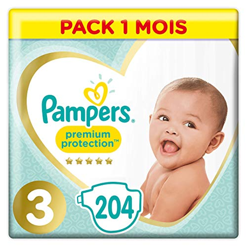 Pampers Premium Protection Taille3, 204Couches, 6-10kg Pack 1 Mois