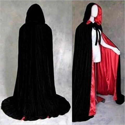 HENGSONG Halloween Fête Party Cape Cosplay Costume Mort de Diable Cloak Capuche Cape Noir Sorcière Manteau