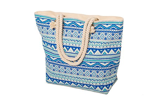 Airee Fairee Womens Large Summer Canvas Beach Bag - Blue
