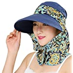 2-in-1 Folding Roll Up Wide Brim Sun Visor Cap UPF 50+ UV Protection Sun Hat with Detachable Neck Protector Hood for Travel Holiday Beach Swimming Cycling Camping Hiking Trekking Running Headwear 78