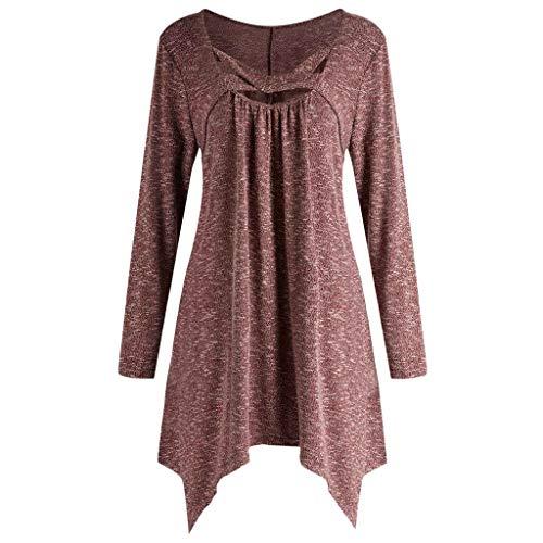 Vestido de Camiseta Superior Irregular de Manga Larga Cruzada de Cuello Redondo de Manga Larga de Color sólido para Damas Casual riou