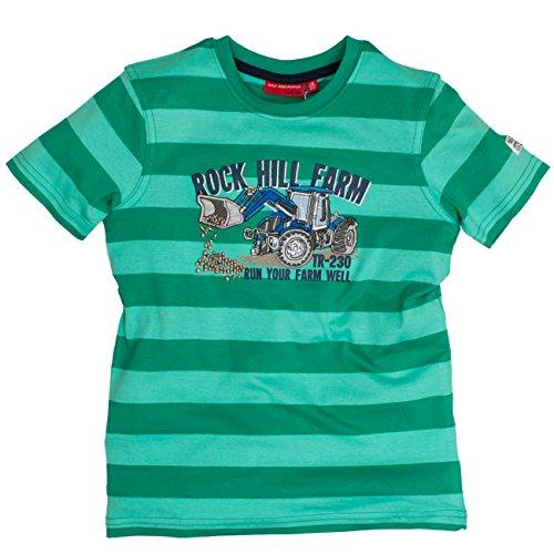 SALT AND PEPPER Jungen T-Shirt Tractor Stripe, Grün (Green 650), 92 (Herstellergröße: 92/98)