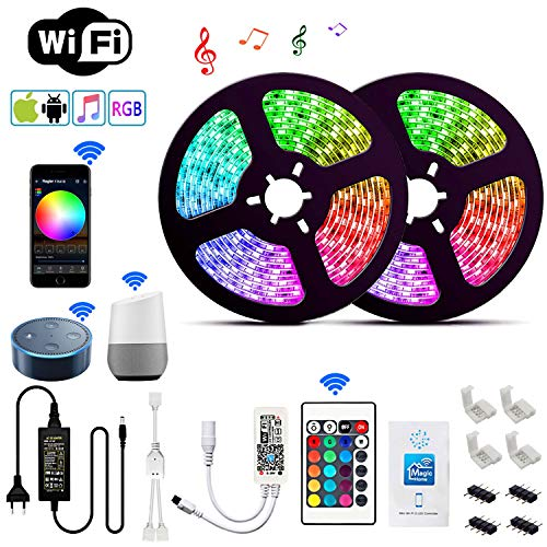 Wlife Wifi Led Streifen,10m RGB Dimmbar Led Stripes Controller mit Alexa,Google Home, IFTTT, Wireless Smart Phone Gesteuert Full Kit, IP65 Wasserdichte,SMD 5050 16 Millionen Farben,12V 5A Netzteil