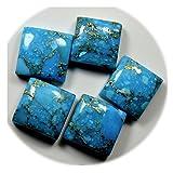 Gemsyogi Lote de Piedras Preciosas Sueltas de Turquesa Genuino de Cobre Total 60 Quilates Forma Cuadrada de 5 Piezas Curación en Conjunto