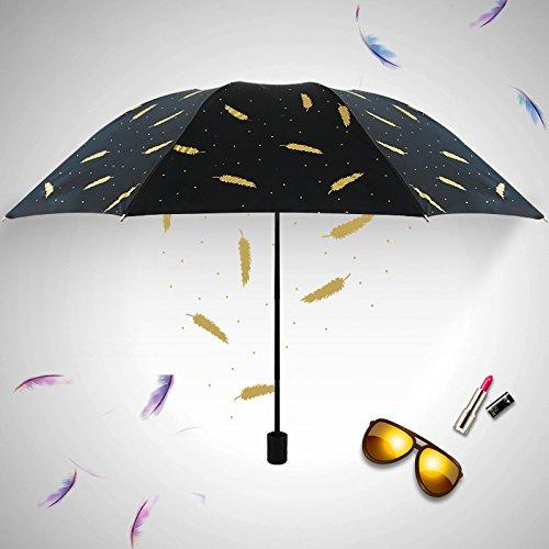 Sunsan Coupe-Vent Solaire UV à Double Pare-Soleil Pliable Style Britannique Petite Femme Douce,Cadeaux de Pliage de l'oreille de blé Noir Classique