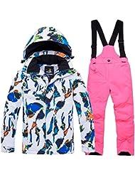 LPATTERN Traje de Esquí para Niños/Niñas Chaqueta Acolchada + Pantalones de Nieve Impermeables para Deporte de Invierno, Blanco-Azul+Rosa Brillante, 7 años/M
