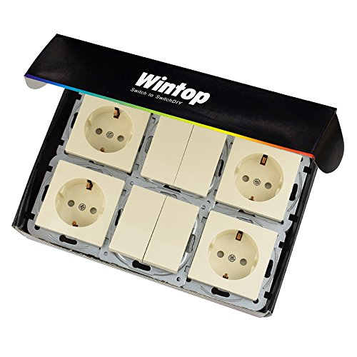 wintop Face Apartamento/Interruptor y Enchufe del Paquete 2x Doble y 4x Socket...