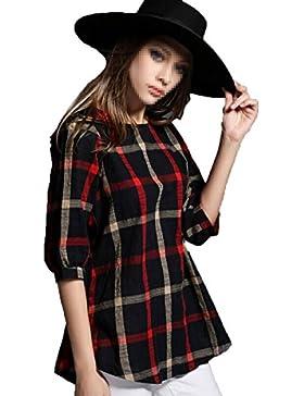 XGMSD Mujer Cuello Redondo Blusa Mangas De Tres Cuartos Cheked Camisa De Algodón