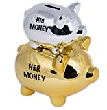 Close Up His Money & Her Money Sparschwein Double Piggy aus Keramik, Gold-silberfarben