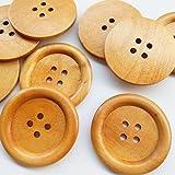 Chenkou Craft - 20 bottoni grandi, in legno, 50 mm, 4 fori, per cucito
