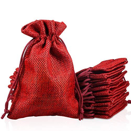 PAMIYO 30 Unidades Rojo Yute Sacos de Yute Bolsa
