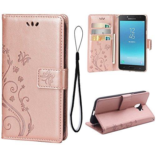 Teebo Hülle für Samsung Galaxy J2 Pro (2018) Schutzhülle aus PU Leder Handyhülle mit geprägtem Schmetterling-Muster Kartenfach und Magnetverschluss Rose Gold