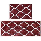 U'Artlines Set di 2 Tappetini da Bagno Tappetino da Bagno Assorbente Antiscivolo Soffice Tappeto da Bagno in Microfibra per Bagno 45 * 65 + 45 * 120 cm Rosso