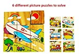 #4: Vibgyor Vibes™ Early Age 6 in 1 Wood Block Puzzles for small Kids. (Vehicles theme)