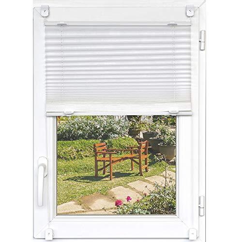 Plissee 90x150 cm in Weiß - Klemmfix Plisseerollo ohne Bohren & Schrauben - flexibel Verstellbarer Sonnenschutz/Sichtschutz - Faltrollo für Fenster und Türen -