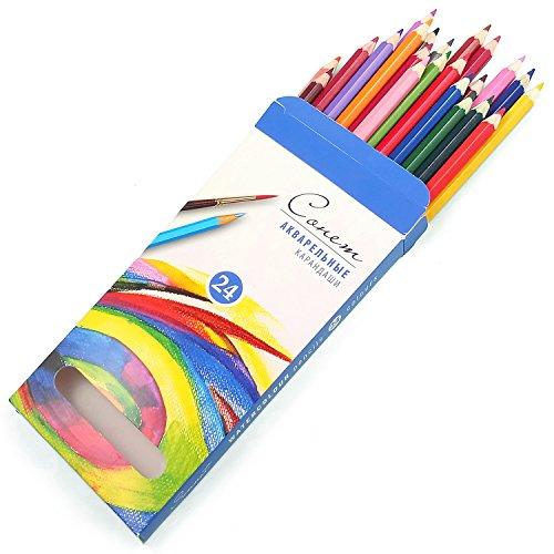 Sonnet Aquarell Farbstifte 24 Set | Hochwertiges Buntstift+Aquarellstifte für Zeichnung | Qualität von Nevskaya Palitra