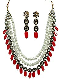 Energcio Exclusive Gold Plated Kundan Faux (Red) Pearl 3 Layer Stylish Fancy Party Wear Wedding Necklace Set With...