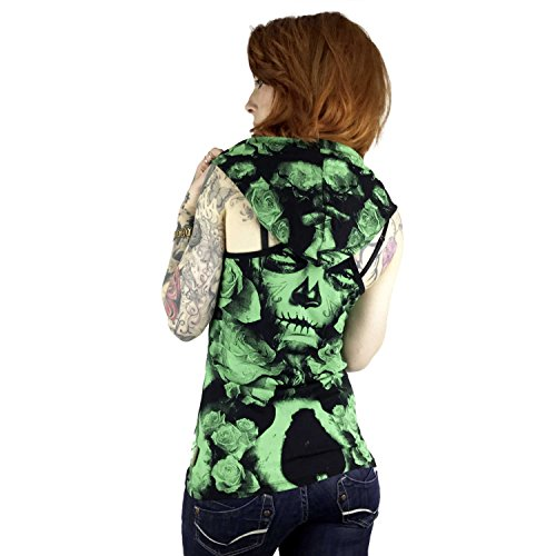 aadfae0d4b5a Yakuza Original Damen Mexican Rose Hooded Tank Summer Green -shk ...