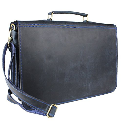 Lehrertasche Aktentasche Leder Model Texas Blau