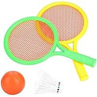 Barley33 Raqueta de Pelotas de Tenis de plástico para niños Raqueta de bádminton con 2 Tipos de Pelota Deportes para Padres e Hijos