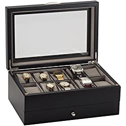 Lionite Mele 10 Watch Black Display Box Case with Draw New