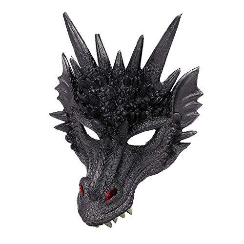 Tincocen Halloween Maske 3D Drachen Cosplay Kostüm für Herren Damen Karneval-Party Mardi Gras - - Schwarz Drachen Kostüm
