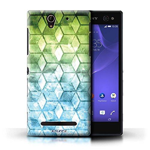 Kobalt® Imprimé Etui / Coque pour Sony Xperia C3 / Jaun/Bleu conception / Série Cubes colorés Vert/Bleu