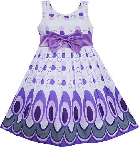 Sunboree Mädchen Kleid Pfau Schwanz Punkt Lila Gr.128-134 (Pfau Kleider Für Mädchen)