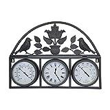 Charles Bentley Garden - Wanduhr mit Thermometer & Hygrometer - Shabby Chic - Schwarz
