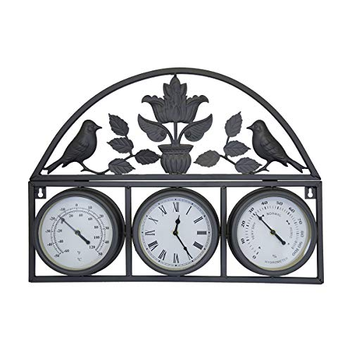 Bentley Garden - Wanduhr mit Thermometer & Luftfeuchtemesser - Shabby Chic - Schwarz