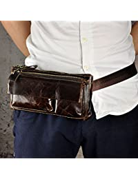 Buyworld Men Oil Wax Genuine Cowhide Real Fanny Waist Pack Chest Hip Belt Bag Multi-Purpose Casual Travel Male...