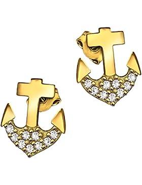 CLEVER SCHMUCK Goldene Ohrstecker Anker 8 mm glänzend unten mit vielen Zirkonias in weiß verziert 333 GOLD 8 KARAT...