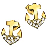 CLEVER SCHMUCK Goldene Ohrstecker Anker 8 mm glänzend unten mit vielen Zirkonias in weiß verziert 333 GOLD 8 KARAT im Etui