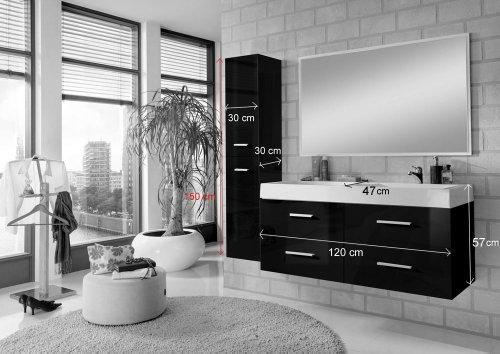SAM® Badmöbel-Set 3-tlg, Hilo, hochglanz weiß, Softclose Badezimmermöbel, Badezimmermöbel, Doppelwaschplatz 120 cm Mineralgussbecken, Spiegel, Hochschrank - 9