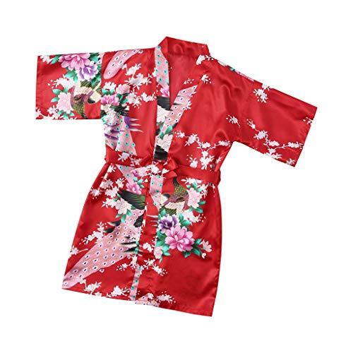 Amphia - Kinderärmel Blumendrucke mit dünnem Bademantel Bademantel(18M-9J) - Kleinkind Baby Kid mädchen floral seidensatin Kimono Roben Bademantel nachtwäsche Kleidung