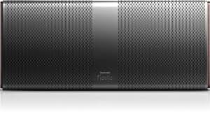 Philips Fidelio P9 (P9XBLK/10) tragbarer Lautsprecher mit NFC Bluetooth (Soft-Kalotten-Hochtöner, aptX, wOOx-Technologie, Crossover-Filter), schwarz/braun