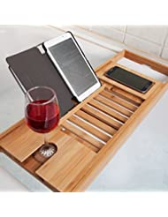 Elitehousewares WoodLuv Lot de luxe en bambou de bain pont Baignoire Caddy Plateau Étagère de salle de bains