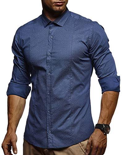 LEIF NELSON Herren Kurzarm Hemd Slim Fit Langarm Kurzarmhemd Freizeithemd Freizeit Party T-Shirt LN3385; L, Indigo  