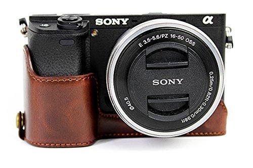 ceari PU Leder DSLR Kamera Hälfte Fall unten Halterung für Sony Alpha A6000A6300-Kaffee -