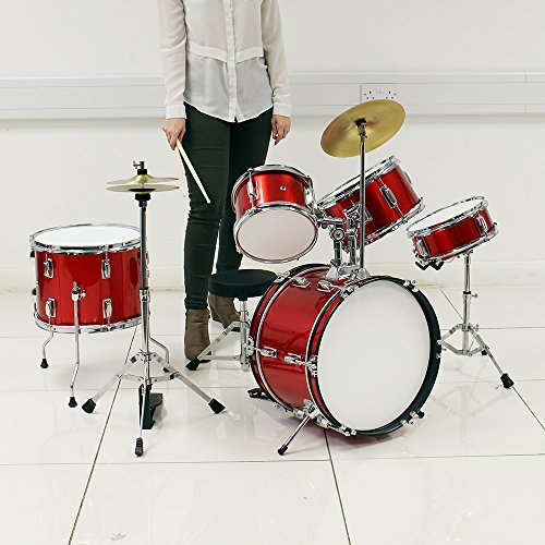 new-5-piece-junior-red-drum-kit-easy-assemble-kids-drum-set-musical-instrument