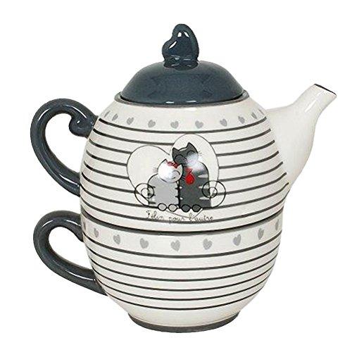 Katzen in Love Keramik solitärbienen Teekanne