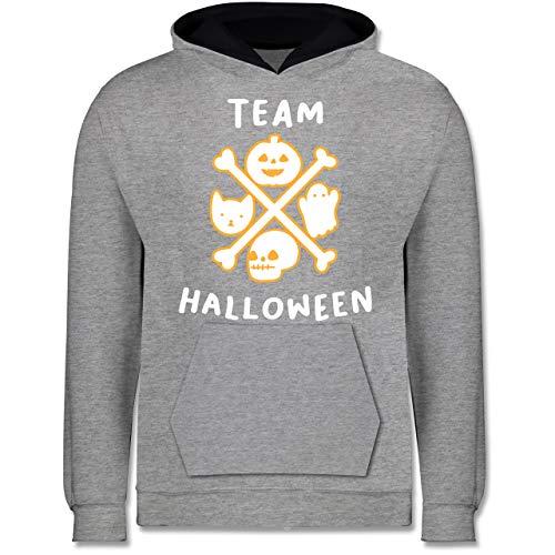 Shirtracer Anlässe Kinder - Team Halloween - 9-11 Jahre (140) - Grau meliert/Navy Blau - JH003K - Kinder Kontrast Hoodie